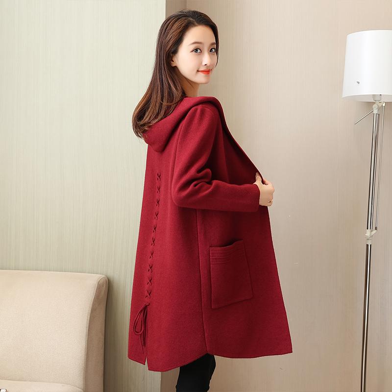 毛衣秋冬女外套中长款女士宽松大码连帽大衣时尚开衫红色针织衫厚