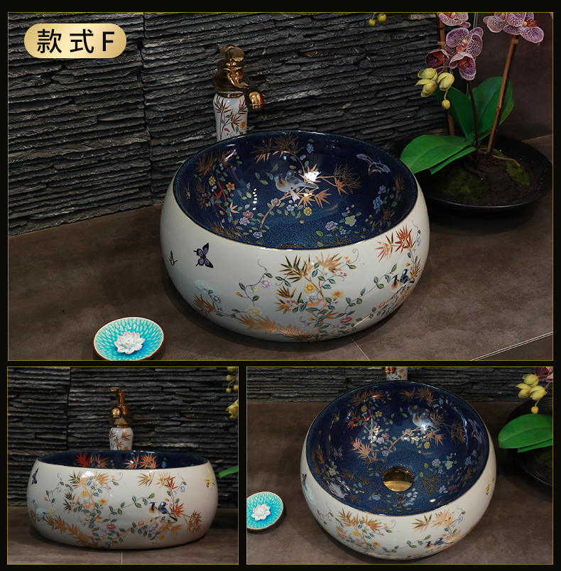 Ceramic face basin stage basin sink square the pool that wash a face wash basin bathroom home art POTS of flowers and birds