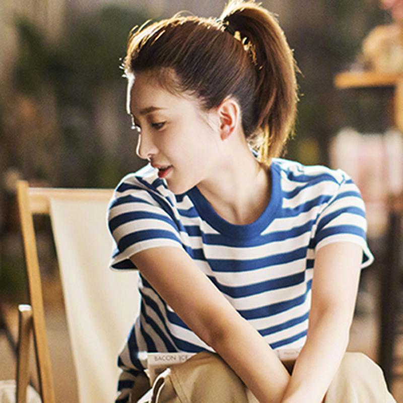 短袖女装2019新款潮夏季宽松海军蓝色蓝白横条纹t恤女短款体恤ins
