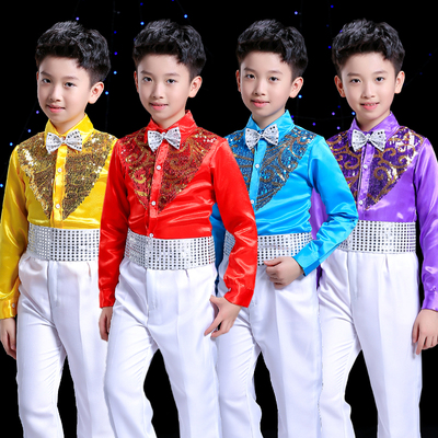 Boys sequins performance clothing Children's bib costumes Boy sequined long sleeve shirt