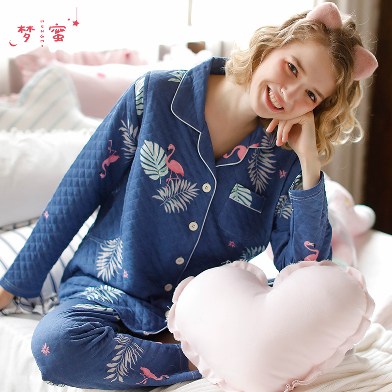 Dream honey thickening month child dress autumn and winter postpartum nursing maternity feeding set large size pregnant women waiting to be born pajamas