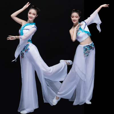 Chinese Folk Dance Costumes Classical Dance Costume Women Modern Dance Costume Fan Umbrella Dance Sleeve Dance Adults