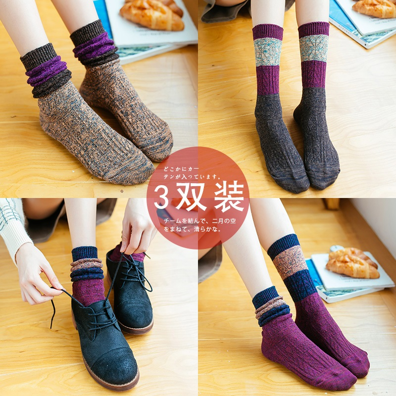 Heap socks women's spring and autumn rough wool socks high stockingsocks socks women's national wind stockings in the original sock flow four seasons