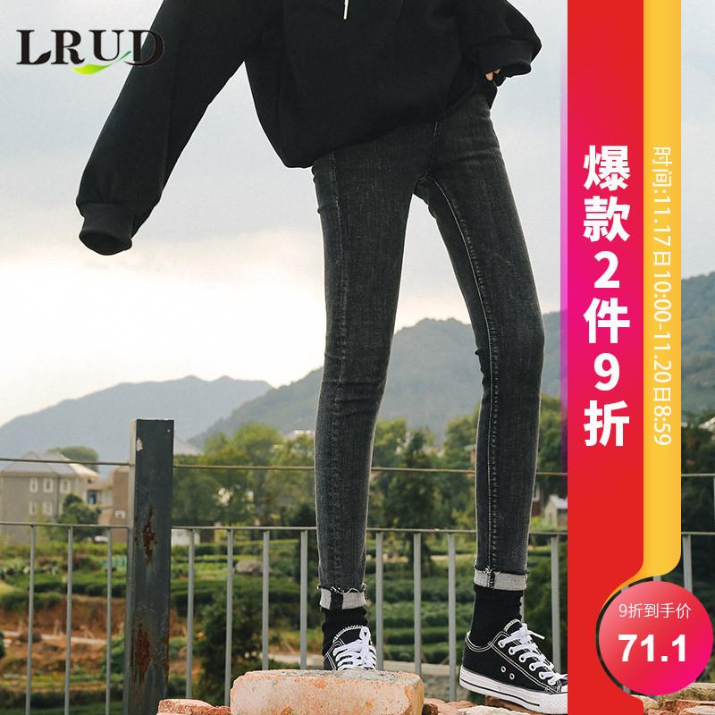 LRUD牛仔裤2018小脚新款女韩版高腰显瘦春装长裤裤子紧身铅笔黑色