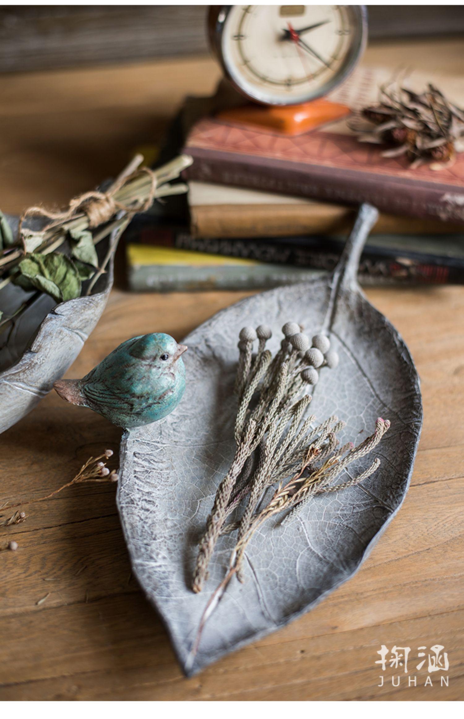 掬涵 复古蓝鸟叶子收纳盘摆件钥匙盘喂鸟器花园装饰碗欧式怀旧商品详情图