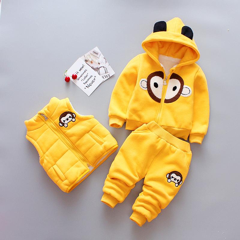 女童装男孩冬装套装女宝宝衣服冬天加绒加厚0-3岁男童卡通三件套