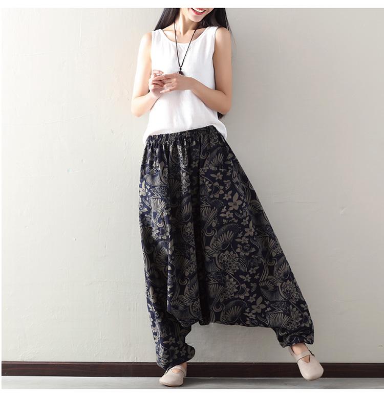 9be3b24187e Clobee Vintage Print Plus Size Harem Pants Women Elastic High Waist Casual  Cotton Linen Lantern Trousers New Pantalon Femme X92. Product Details