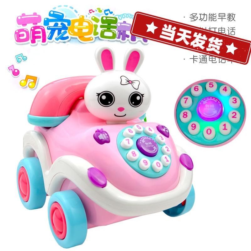 Trẻ em học điện thoại cố định phim hoạt hình bé thỏ truyện nhạc trẻ sơ sinh bài hát điện thoại di động giáo dục sớm máy đồ chơi - Đồ chơi âm nhạc / nhạc cụ Chirldren