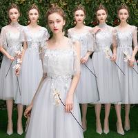 Платье невесты прогрессивный 2019 новая коллекция весна серый Сестра группа выпускной платье юбка женская тонкая крышка рука фасон средней длины стиль