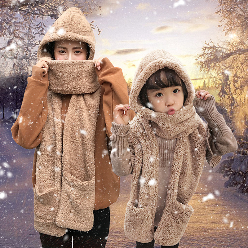 Корейский студент шарф перчатки три образца женщина зима для взрослых ребенок нагрудник один шляпа родителей