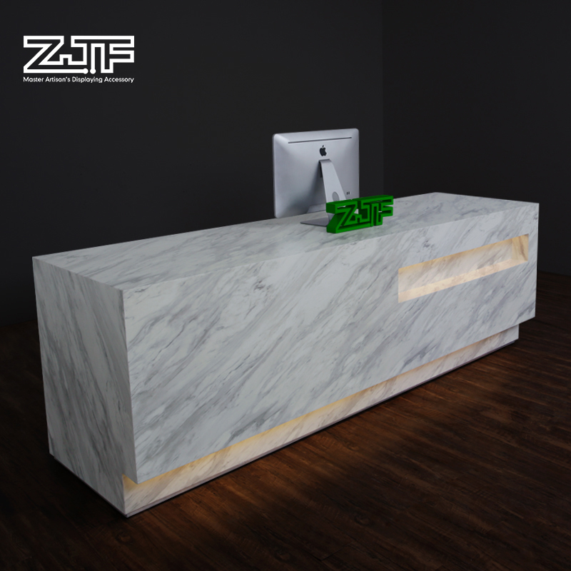 Zjf Front Desk Reception Counter Imitation Stone Welcome