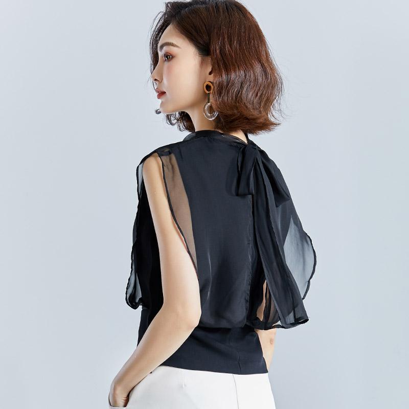 黑色雪纺衫短袖女2020新款夏装韩版后背蝴蝶结百搭配阔腿裤的上衣