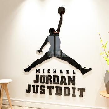 Nba иордания баскетбол звезда характер акрил 3d трехмерный наклейки для стен живопись школа комната с несколькими кроватями спальня наклейки декоративный статья, цена 1055 руб