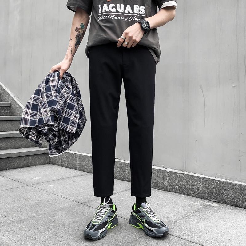 Bộ đồ mới bé trai quần dài 9 điểm mùa thu cảm giác quần nhỏ chân bình thường Quần dài Hàn Quốc Quần dài nam - Quần làm việc