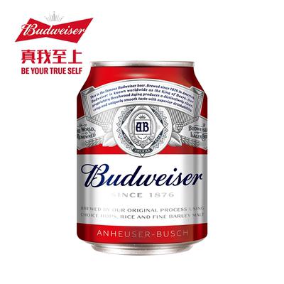 Budweiser/百威啤酒迷你啤酒255ml*24大听罐装新品啤酒整箱官方