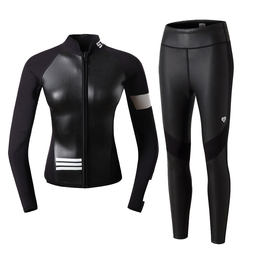 2mm SCUBATREK女潜水服冲浪分体长袖上衣浮潜水母服保暖防寒防晒