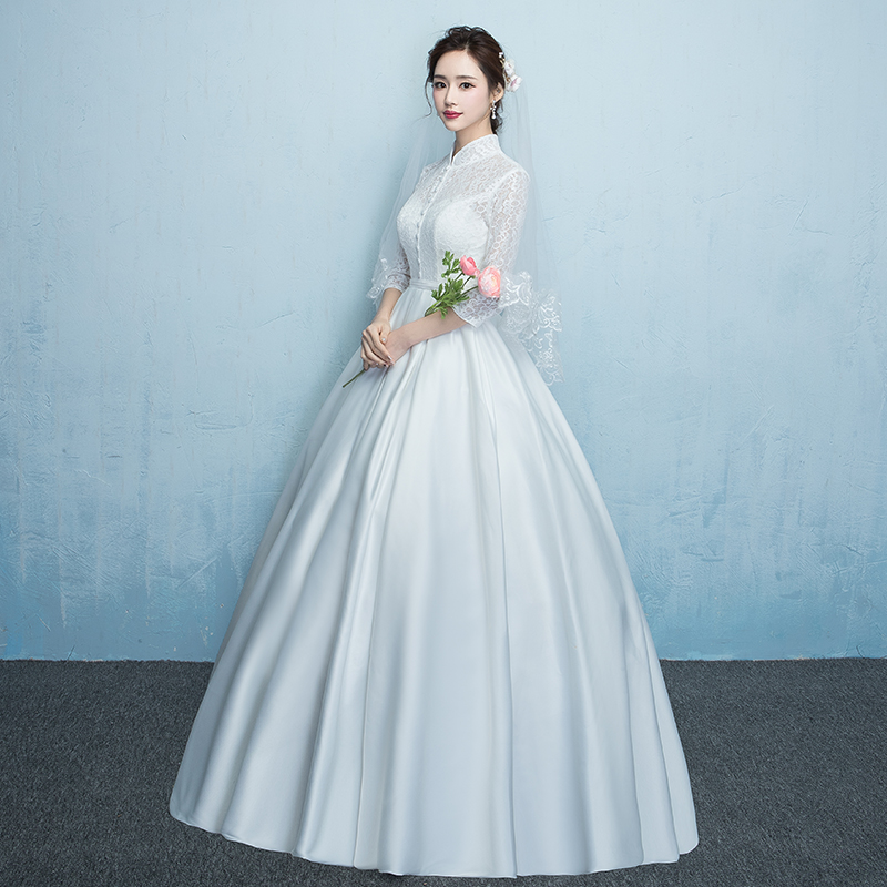 Retro wedding dress bride 2018 new large size was thin stand collar ...