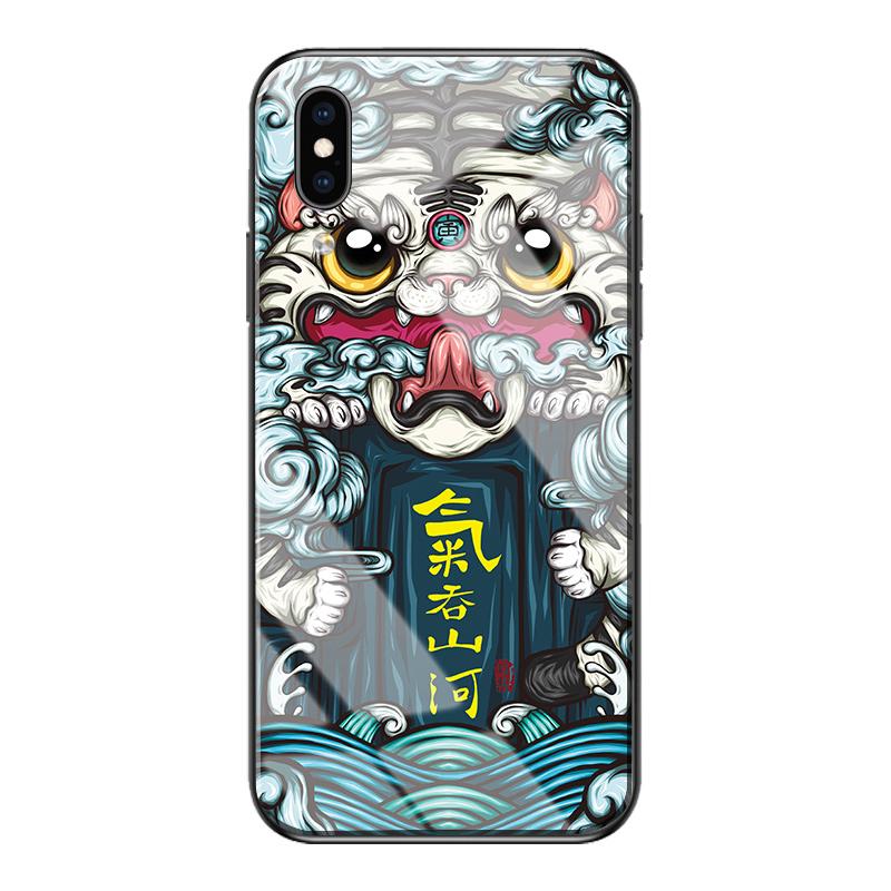 苹果X手机壳国潮 国风iphone xs女潮牌创意玻璃手机壳max男个性_领取30元天猫超市优惠券