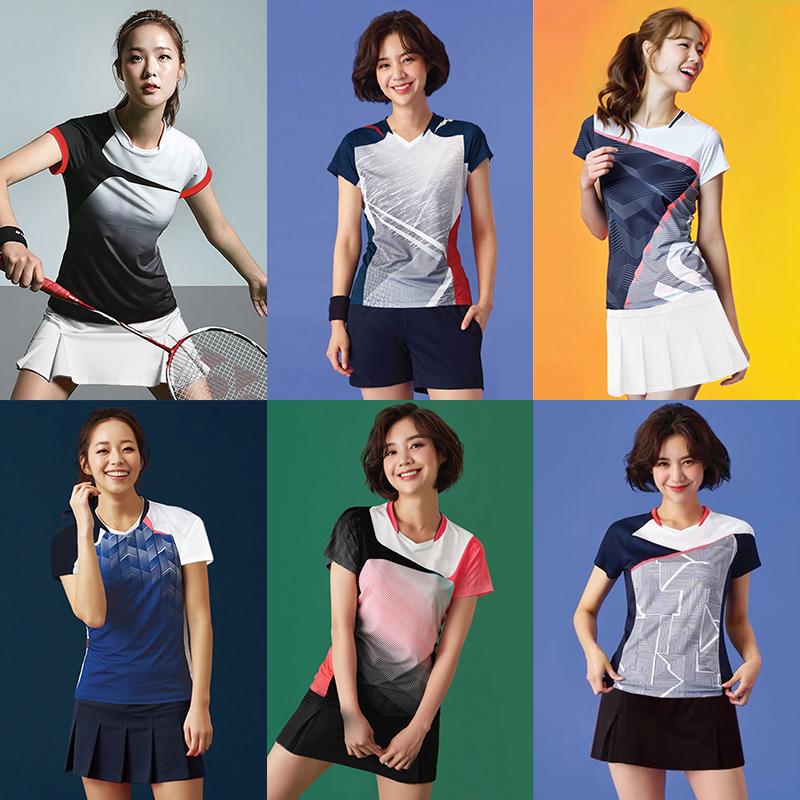 羽毛球服女装套装运动衣服男速干韩国短袖裤裙女比赛训练队服印字