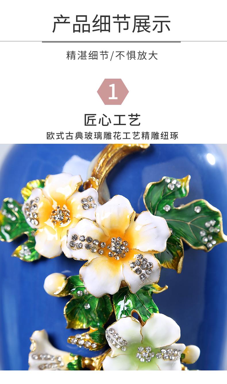 Jingdezhen American light colored enamel key-2 luxury ceramic vase modern creative manual furnishing articles home sitting room porch decoration