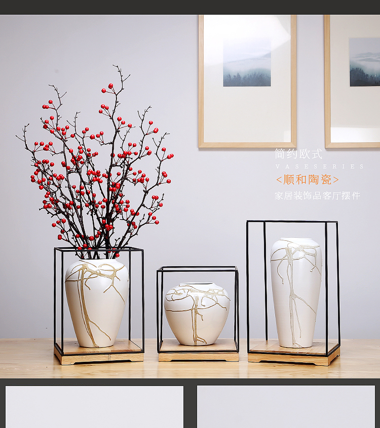 Jingdezhen ceramics vases, I and contracted style of the sitting room porch place to live in the dried flower crafts