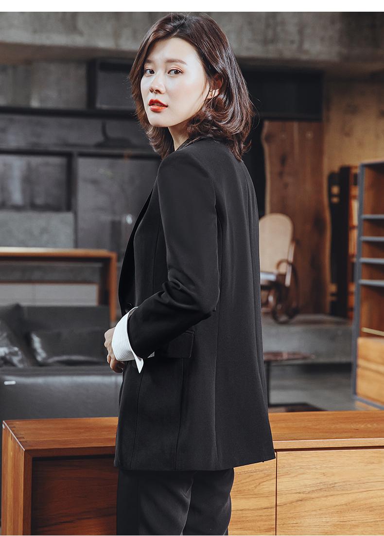 小西装外套女设计感小众春秋新款职业黑色上衣韩版大尺码西服潮详细照片