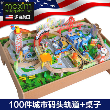 Maxim Wooden Train Track 100 Pieces Wooden Track Table 2 3 5 6 Years Old Boys And Girls Christmas Toys