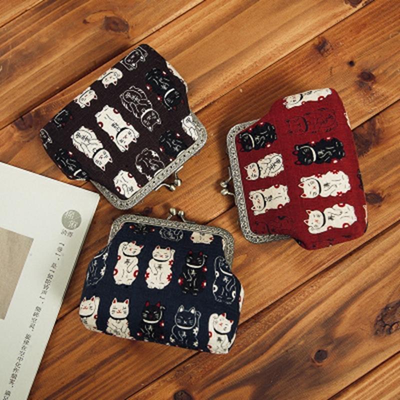 布语原创新款礼品女布艺日式和风招财猫可爱口金零钱包布艺包