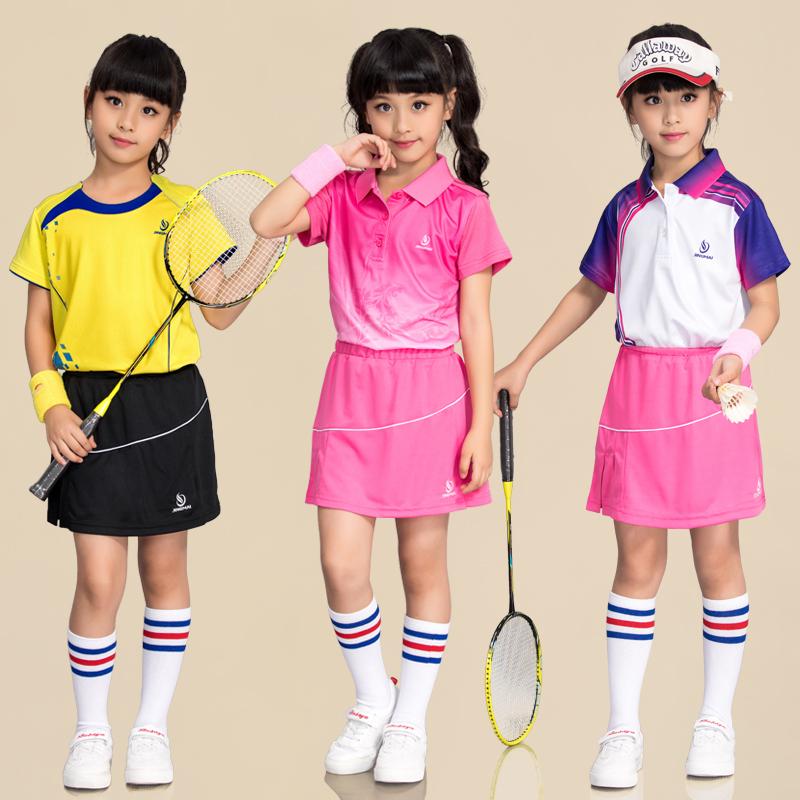 Цзин Май детские Одежда для бадминтона комплект на девочку Одежда для тенниса короткий рукав Кюлоты тренировочный костюм одежда для настольного тенниса на мальчика
