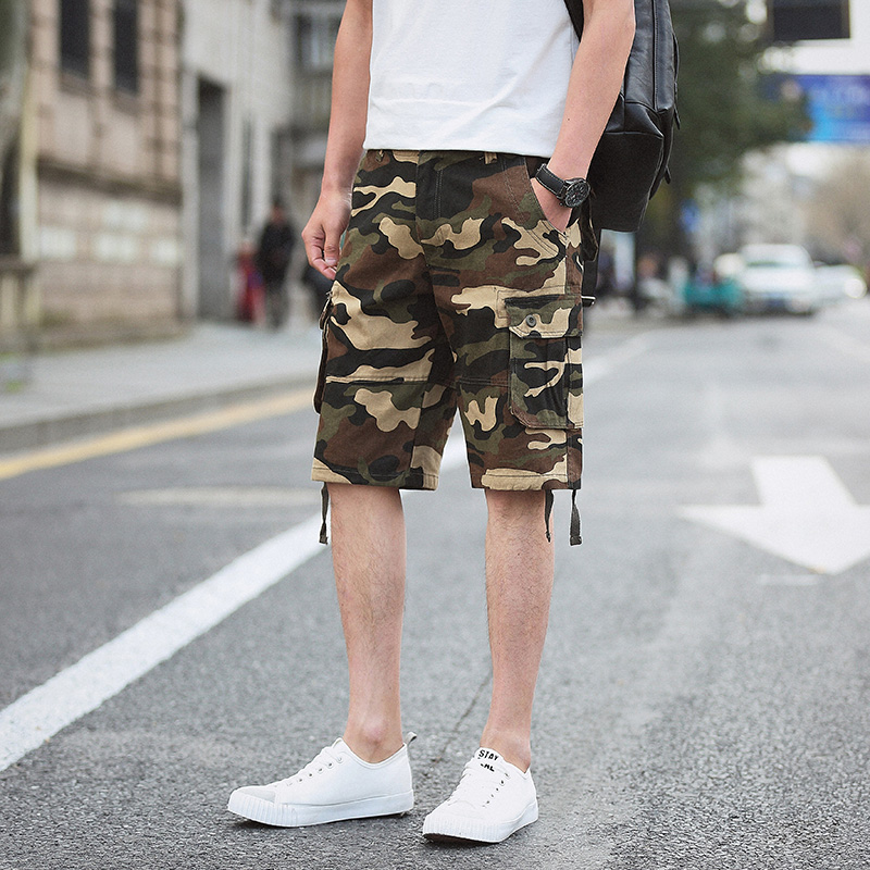Tooling Shorts Mens Tide Brand Yu Wenle 5 Five Pants Loose Straight Student Wild Beach Pants Mens Youth Pants Men's Clothing