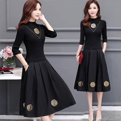 Skirt Spring and Autumn Women's Coat Mid-length Style 2020 New Lady Autumn/Winter Dress Long Sleeve High-end Western Style