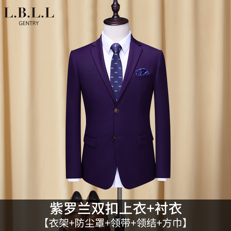 [218] Violet Double Button Top + Shirt (send Tie + Bow Tie + Hanger + Dust Bag +  Square Towel)