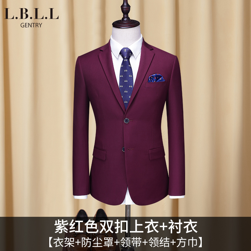 [218] Fuchsia Double Button Top + Shirt (send Tie + Bow Tie + Hanger + Dust Bag +  Square Towel)