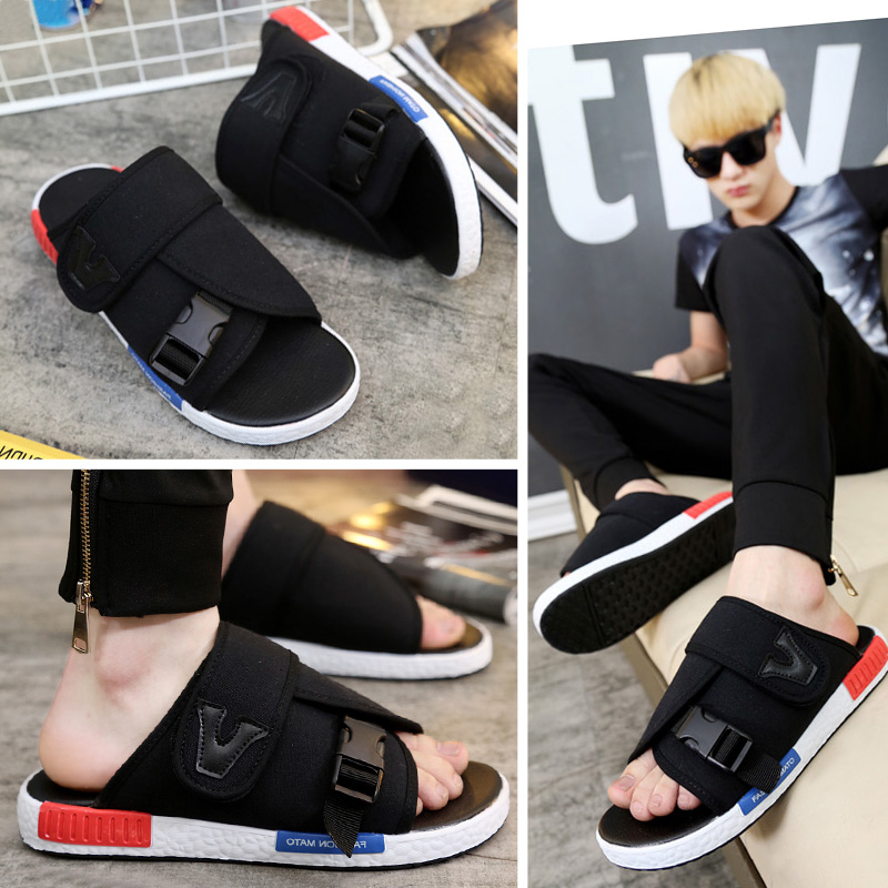 Men/'s Summer Fashion Personality Non-slip Flip-flop Canvas Beach Casual Sandals