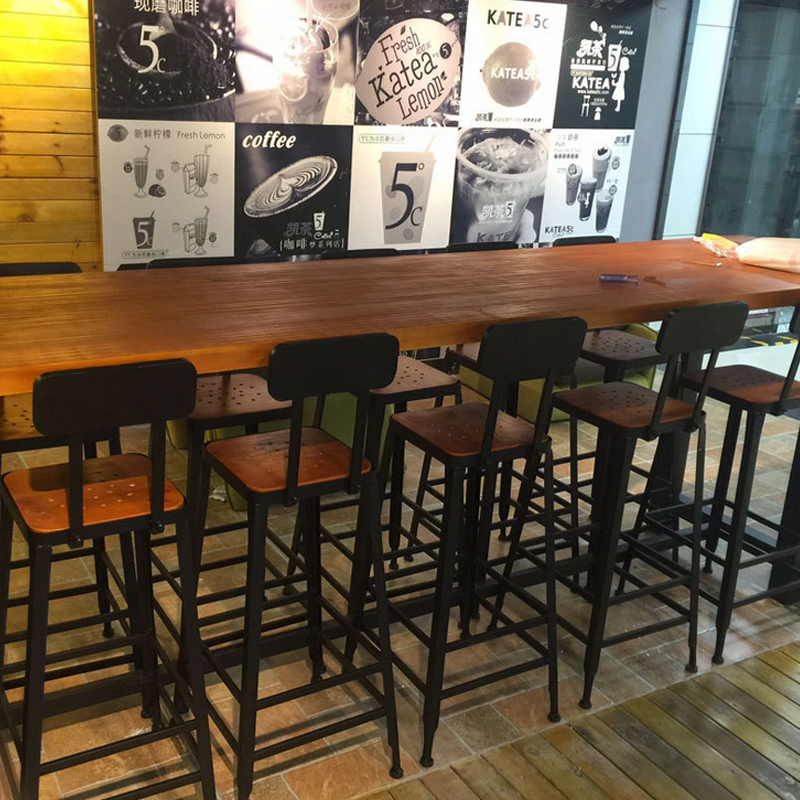 American Casual Home Bar Table Starbucks Iron Solid Wood Wall Tall - Long bar table with stools
