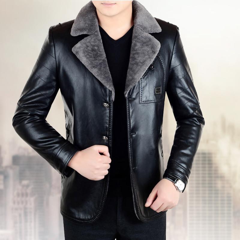 爸爸新款中年皮衣真皮外套一体男男士秋冬男绵羊皮加绒加厚皮毛装