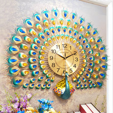 Clock wall clock living room personality creative fashion peacock hanging table modern minimalist atmosphere clock home quartz clock circle