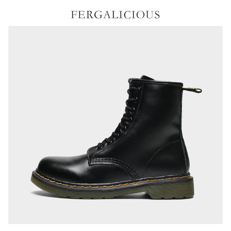 秋冬马丁靴秋季2021年新款女黑色加绒单靴英伦风短靴中腰厚底牛皮