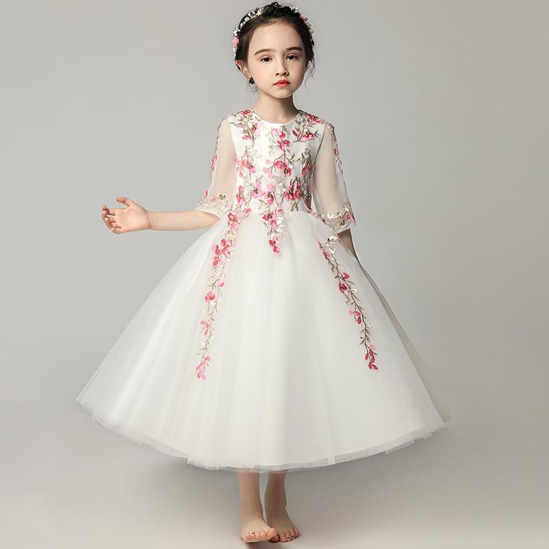 Váy dạ hội trẻ em váy công chúa váy cưới sợi mịn phần dài tay áo hoa cô gái nhỏ chủ nhà biểu diễn piano quần áo - Váy trẻ em
