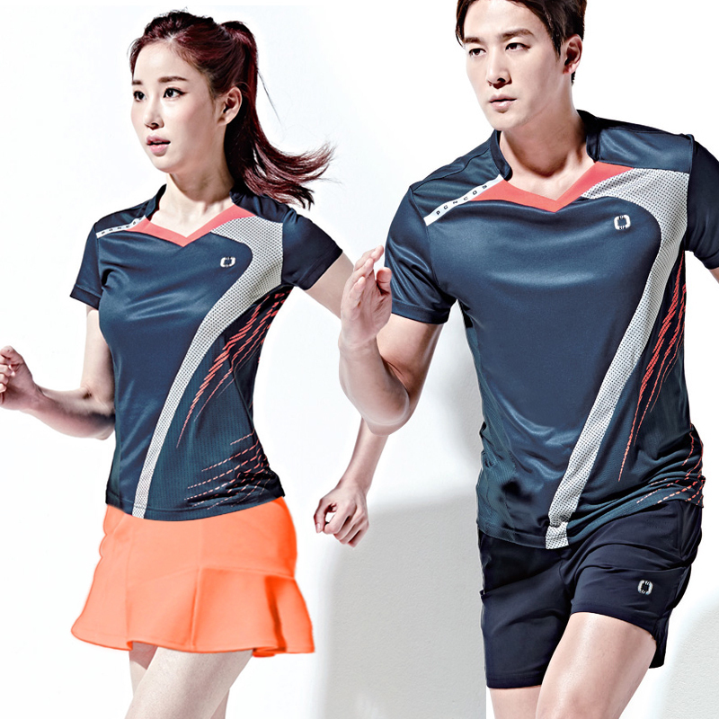 Korean badminton men and women quick-drying short-sleeved tennis table  tennis clothing sports 48f4699a8