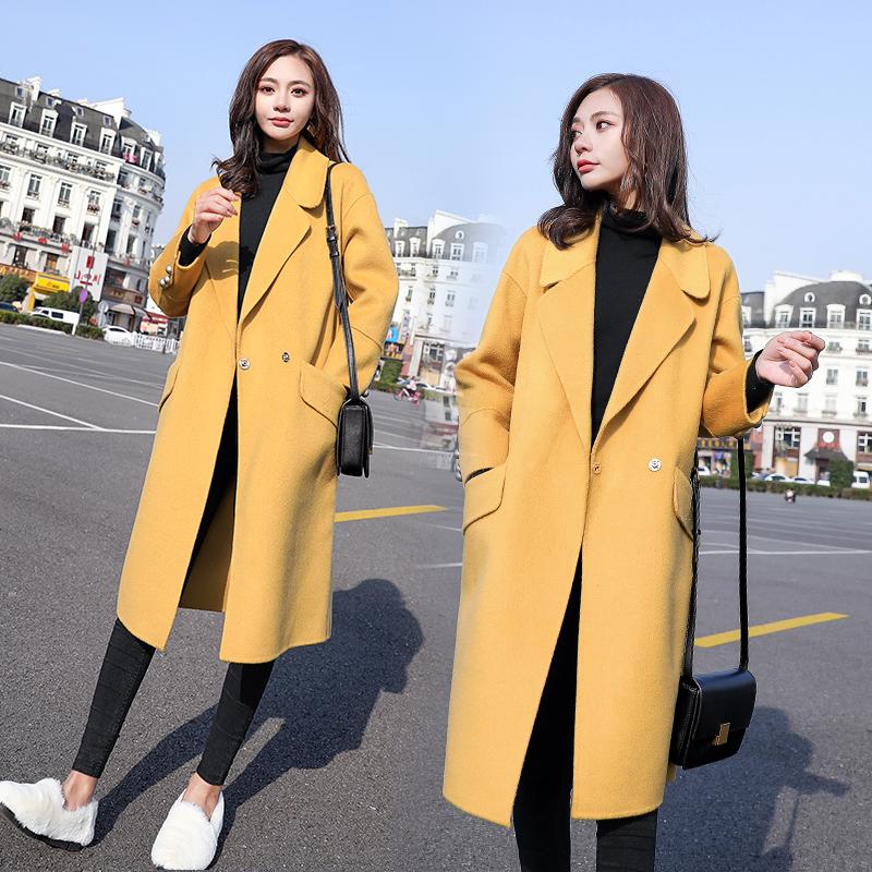 反季呢子大衣外套女2019秋冬新款韩版中长款显瘦九分袖毛呢时尚潮
