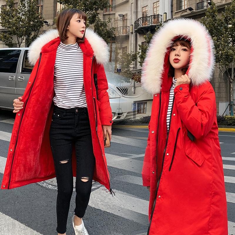 中长款派克大衣女2019冬款新款韩版宽松bf风棉衣收腰显瘦加厚棉服