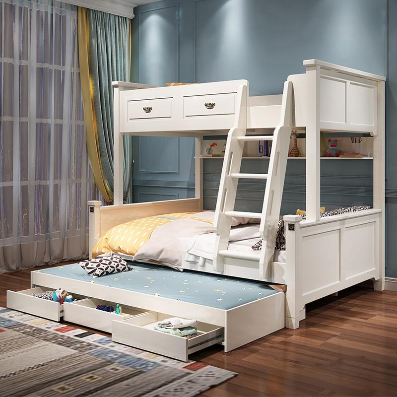 美式高低床实木脚儿童上下床两层上下铺木床双层大人双人子母床