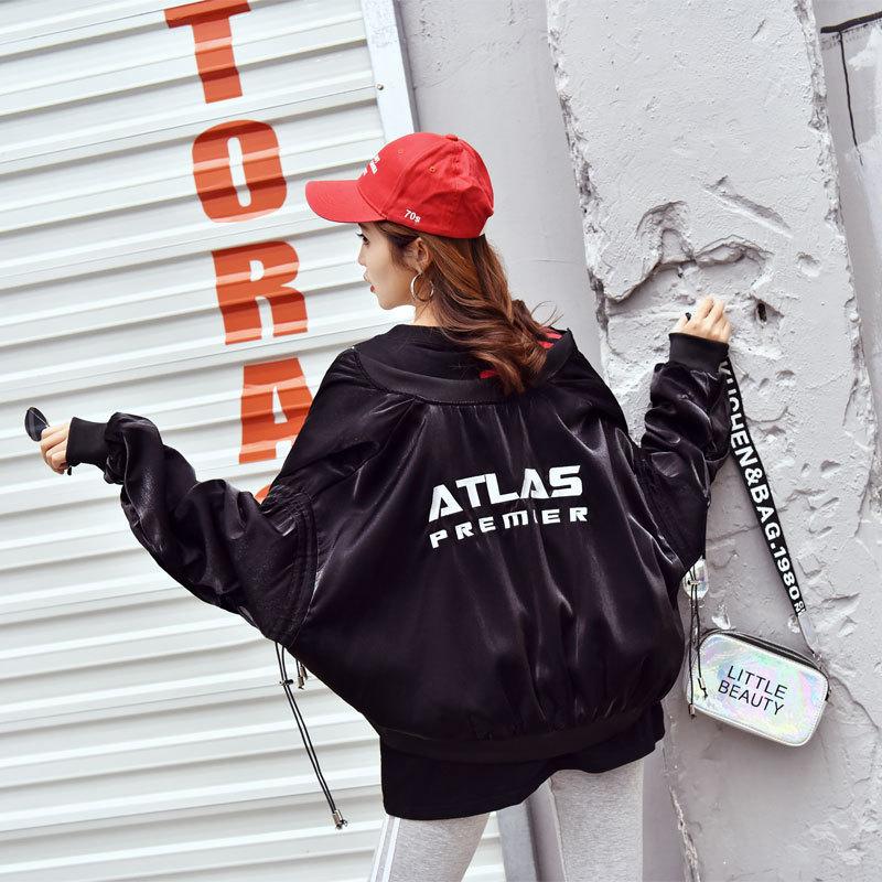 2019春秋装新款学生韩版棒球服女装宽松刺绣飞行员夹克BF短款外套