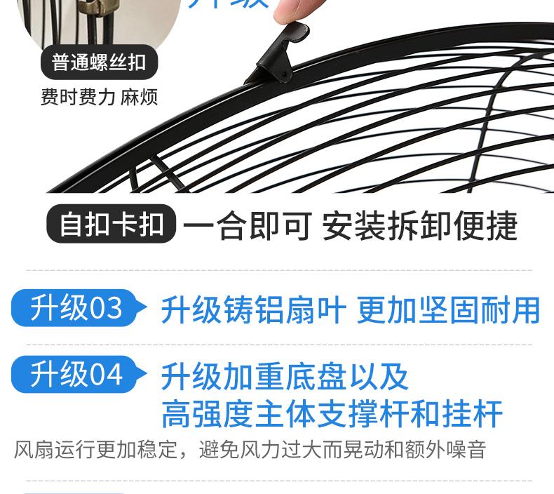 工业电风扇大功率摇头牛角扇壁挂立式强力工厂商用落地扇超强风量详细照片