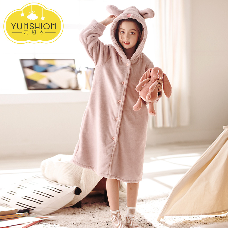 eea8b3992a3e USD 57.79  Children s bathrobe girls thickened section conjoined ...
