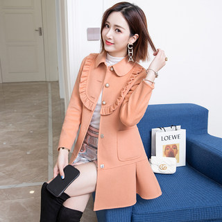 Double-sided cashmere coat women's mid-length 2021 new spring slim small orange woolen woolen coat
