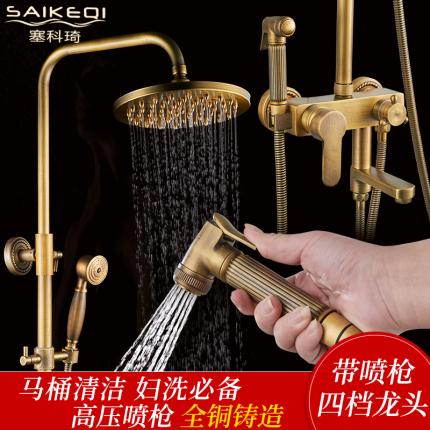 全铜欧式复古淋浴花洒龙头套装仿古冷热水龙头古铜色花洒淋浴喷头