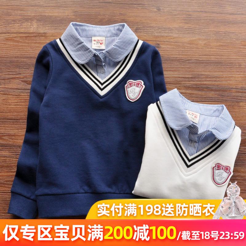 【200减100】宝宝运动卫衣女童领假两件套头衫衬衫韩版休闲上衣潮