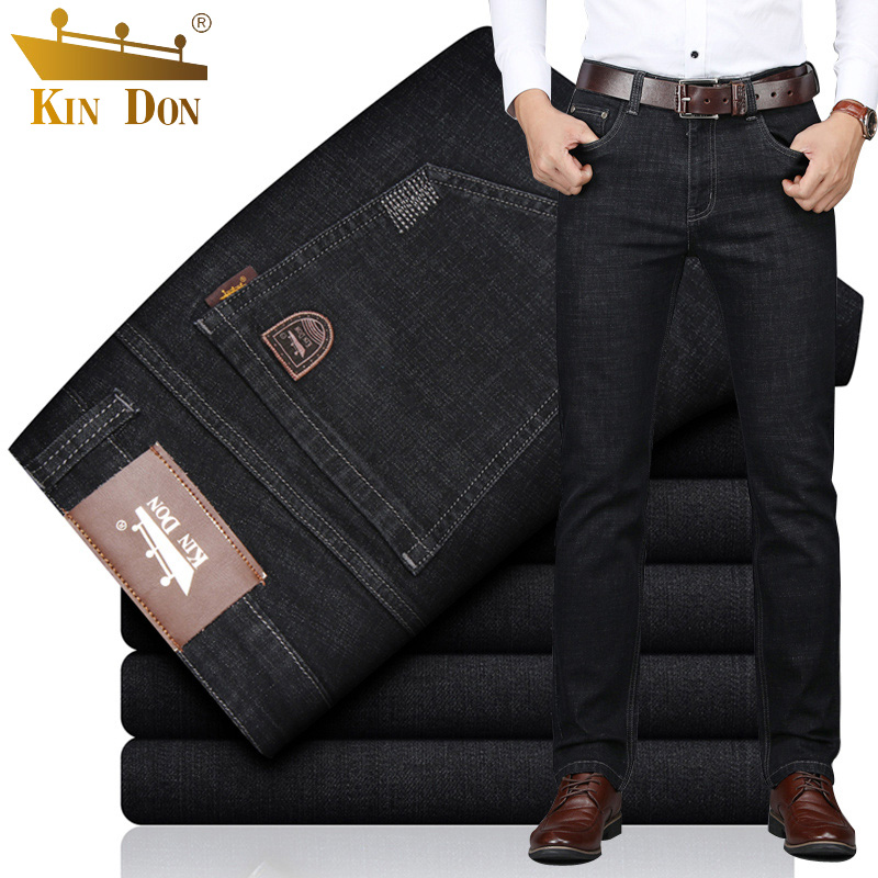 金盾牛仔裤男直筒宽松弹力秋冬款厚款休闲春季薄款长裤黑色男裤子